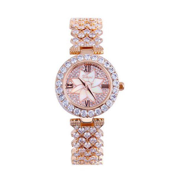 Timini Charm Flower Full Diamond Watch Retro Roman Luxury Lady Watch Impermeable Reloj de Cuarzo Para Mujer Regalo