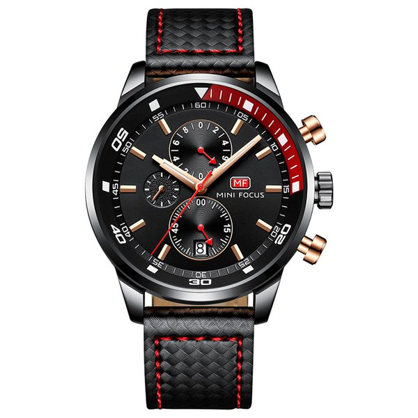 2019 Mens Sports Watches Stopwatch Clock Quartz Movement 41mm Dial Leather Band Waterproof Small Three-Pin Luminous Luxury Men Watch