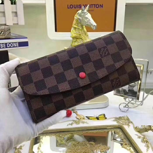 Luxury Designer 5A+ Plaid Wallet For Women Button Long Emilie Wallet Exotic Leather Top Quality Ladies Card Pouch Round Coin Purse