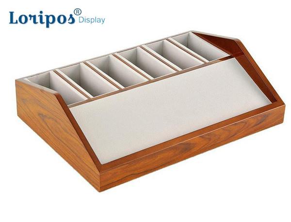 Leather Belt Show Rack Wooden Box 6 /8 cells Belt Storage Holder Shelf Wood Case For Belt Display Stand Table Wardrobe Cabinet