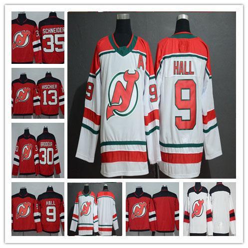 2019 New Jersey Devils Eishockey 9 Taylor Hall 13 Nico Hischier 30 Martin Brodeur 35 Cory Schneider Andy Greene Rotes Alternativtrikot