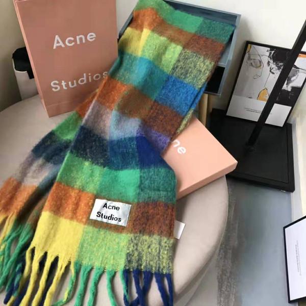 Color plaid pattern acne echarpe luxury carf 2019 female male canada wool ca hmere winter carf pa hmina cla ic plaid winter car, Black;white