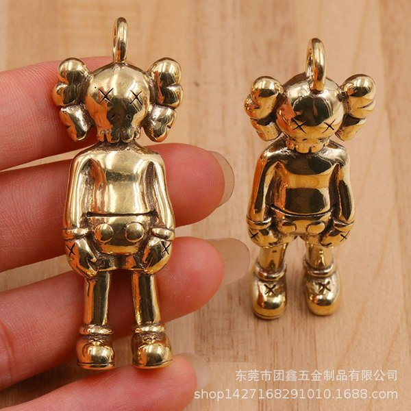 Pure copper Original companion personality tide play kaws doll bear key pendant for kids gift for girls