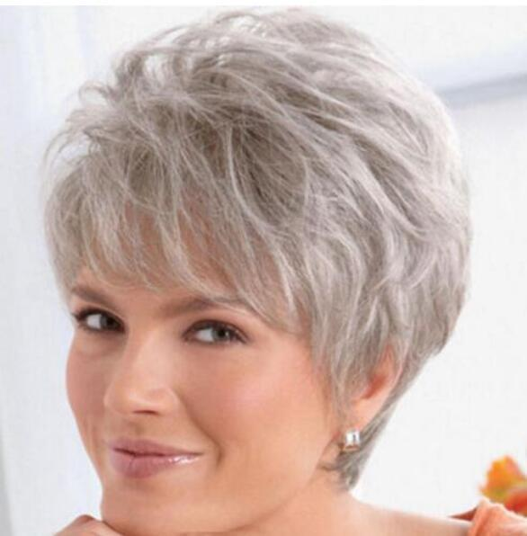 FREE SHIPPING+ ++ Beautiful Women lady Wig Short Straight Silver Grey Synthetic Hair Wigs