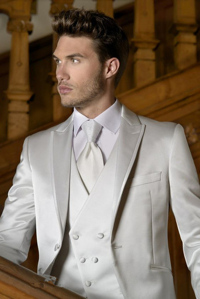 2019 new Latest Coat wedding Italian ivory Satin Double Breasted vest Men Suit Slim Fit 3 Pieces Tuxedo Custom Groom mens suits