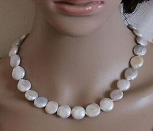 Бесплатная доставка ++ подлинная природные 13-14 мм Белая монета пресноводные культивированный жемчуг ожерелье
