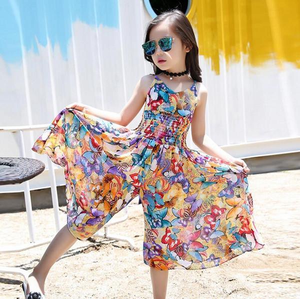 2019 Bohemian Dress for Girls Summer Girls Beach Dress Teenage Sleeveless Kids Dress Jumpsuits Flower Clothes Children