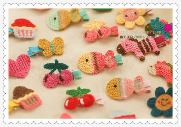 Cute knit hair Accessories Barrettes baby kids little infant girls hairwear Hairbands Clips new fashion hairpin BB clip 100pcs/lot