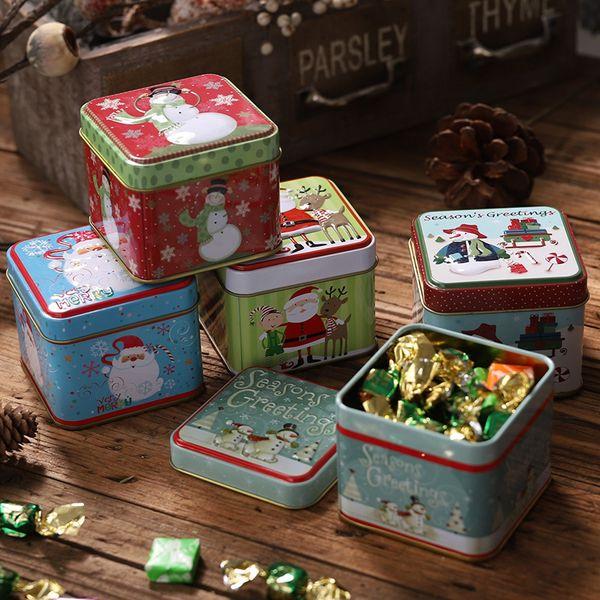 Noel Şeker Boxs Küçük Depolama Kutular Para Küpe Takı Hediye Kılıf TTA1923 Paketleme Noel Mini Teneke Kutu Mühürlü Kavanoz