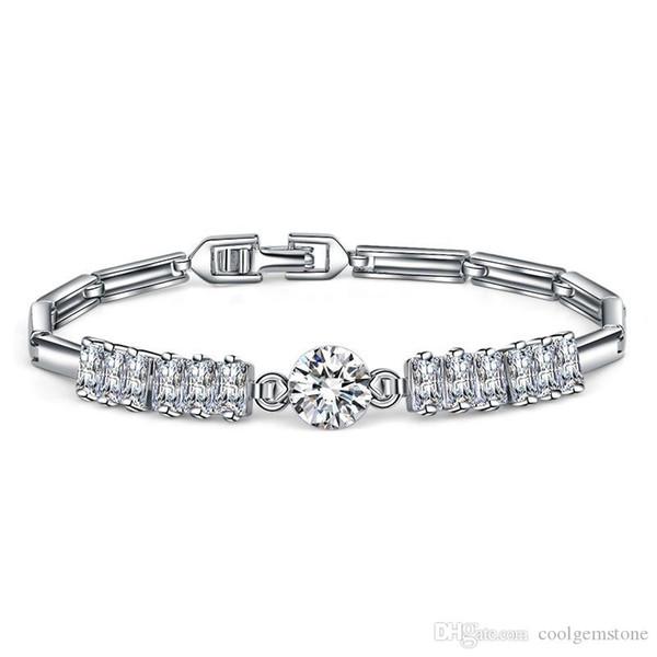 New Fashion White Crystal Cubic Zirconia for Women Bracelet Bangle Jewelry Family friend Wedding Bracelet Jewelry Free shipping