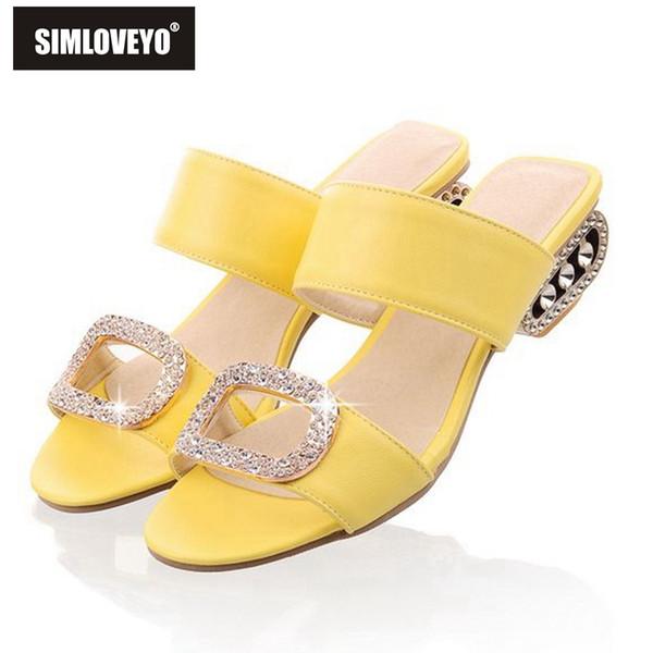 SIMLOVEYO Sandali Donna Pantofole Estate Donna Scarpe Ciabatte Sandali Donna Tacco Basso Large Size 9 10 Moda Arancione Strass # 10166