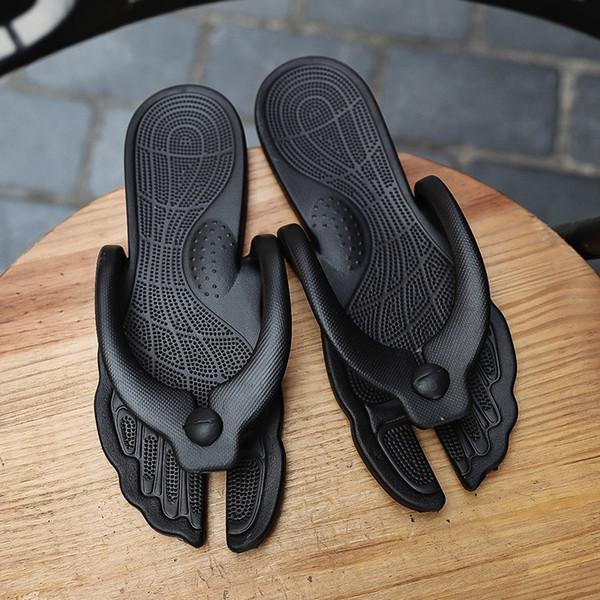 AODLEE Erkekler Çevirme Terlik Artı Boyutu 46 Yaz Erkek Ayakkabı Rahat Mesage Plaj Sandalet Terlik Siyah Çevirme Erkekler Slaytlar