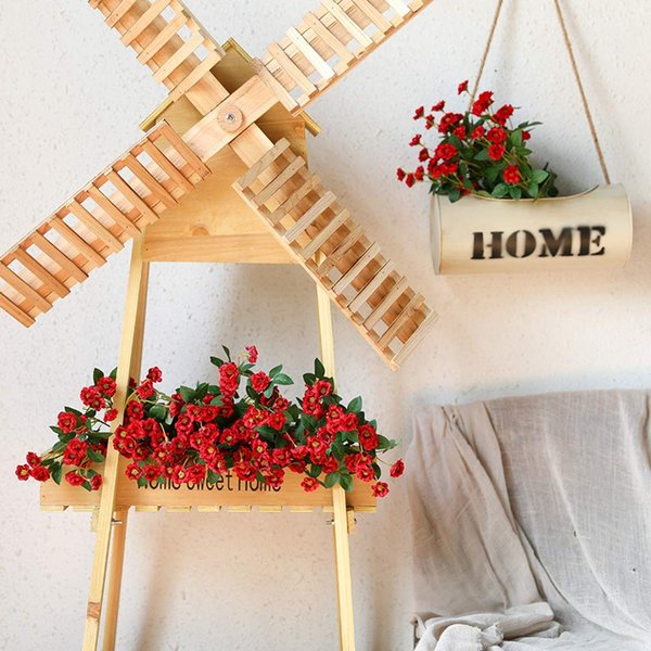 Artificial Small Rose Wildflowers Fake Outdoor Flowers Bouquet Silk Floral Indoor Outside Hanging Planter Home Kitchen Office We