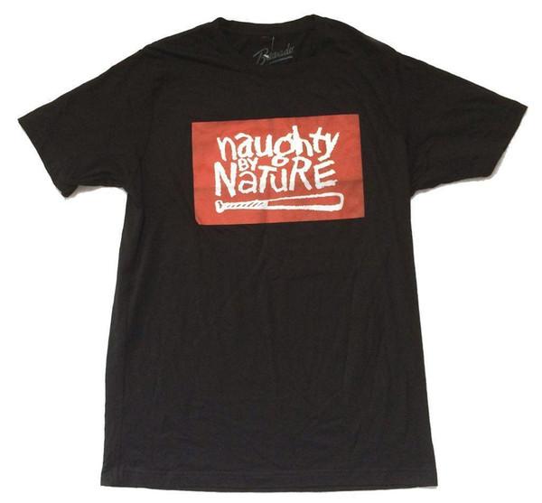 Naughty By Nature Logotipo clásico del bate de béisbol Camiseta negra Nuevo camiseta oficial de algodón 100% Hip Hop para niño estilo occidental