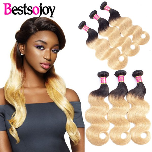 Bestsojoy 3 paquetes T1B 27 Dark Root Honey Blonde Ombre Brasileño Body Wave Cabello humano 3 paquetes Ombre Body Wave Hair Weave