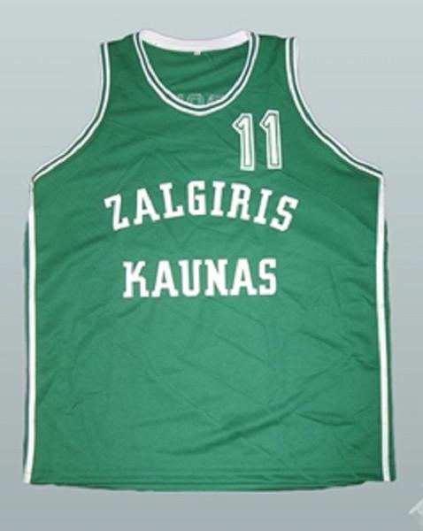 Arvydas Sabonis Zalgiris Kaunas Basketbol Forması Nakış Dikişli Herhangi bir boyut ve isim Özelleştirme