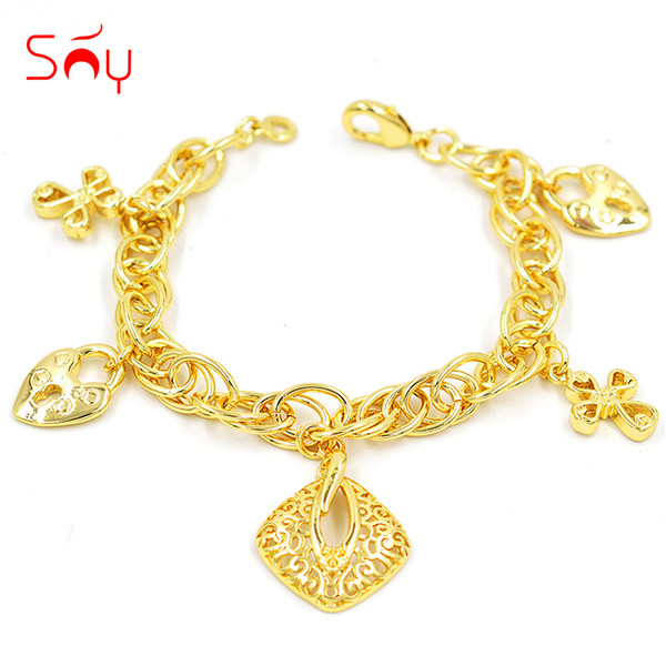 charm women Sunny Jewelry Vintage Jewelry Charm Women Link Chains Fairy Flower Lock Bracelets Chains For Party Wedding Daily
