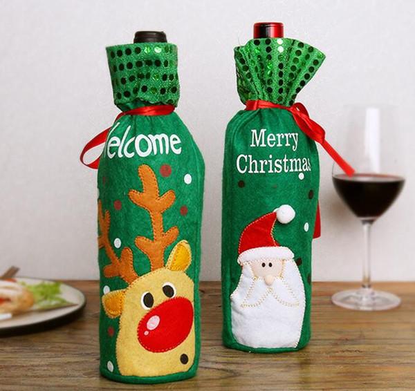 Nouveau Père Noël cadeau sacs décorations de noël couverture de bouteille de vin rouge sacs noël santa champagne vin sac cadeau de noël 12.5 * 30 cm