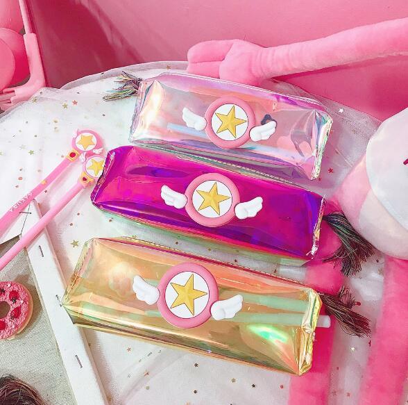 Personality Laser Color Transparent Pencil Bag Japanese Girl Heart Sakura Pen Bag Fringe Pencil Bag Office Stationery Storage
