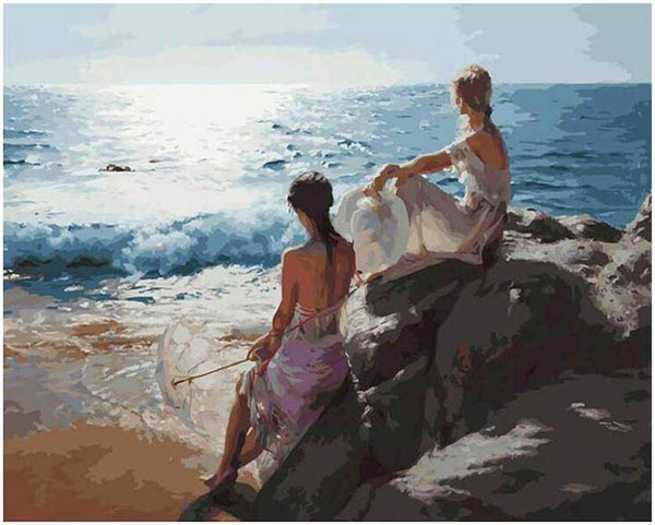 "top popular Adult Hand Painted Oil Paint Kits Paint DIY Painting By Numbers-Seaside girl 16""x20"" 2021"