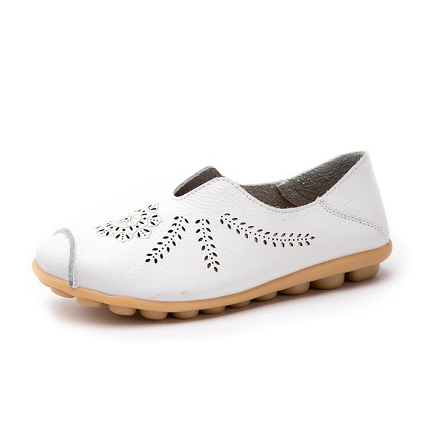 Women Spring Casual Shoes Genuine Leather Loafers Hollow Breathable Handmade Shoe Lady Soft Flat Driving Shoes