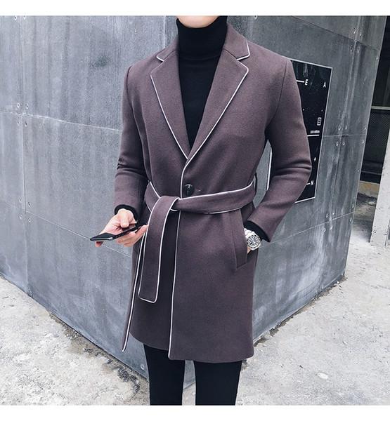Casaco de Inverno de luxo Homens Moda de Médio Comprimento Cor Sólida Mens Casacos E Jaquetas Com Cinto Tendência Slim Fit Trench Coat Homens