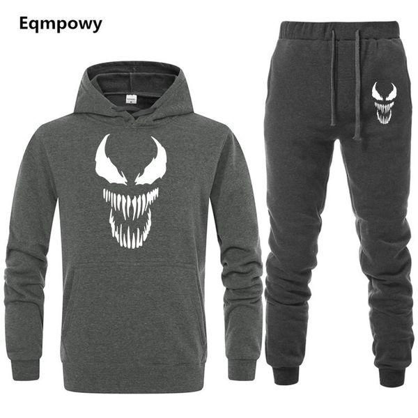 New Venom Cool Comic Originality tracksuit men Two Piece Hoodies+Pants Sweatpants Winter thermal Sweatshirts Suit Male Clothing