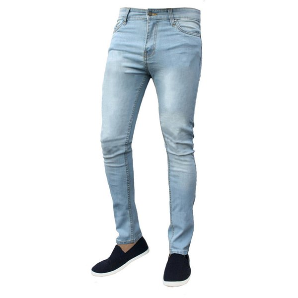 Casual Men Jeans Pants 2019 High Elastic Thin Denim Pants Hip Hop Slim Fit Trousers Streetwear Male Blue Black Jogger Pantalon