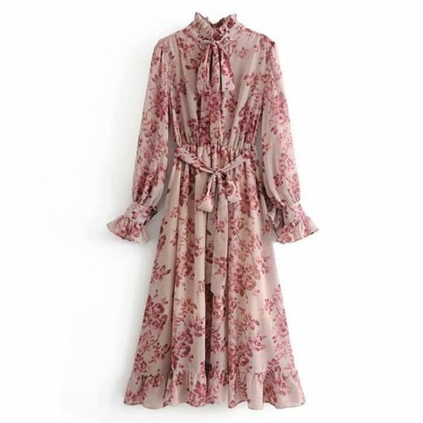 2019 Pink Flower Print Long Arm Dress With Sharpened Women Vintage Flood Bow Collar Rubber Shirt Y19070901
