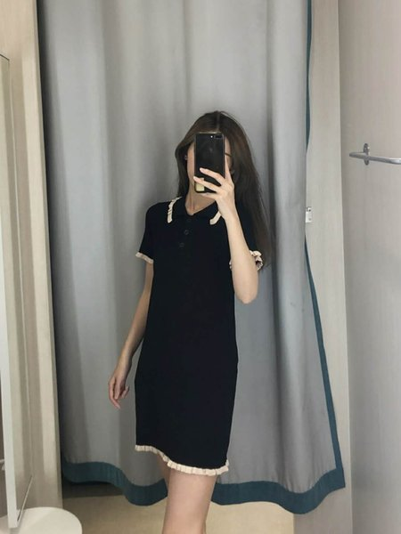 Designer 2019 New Women's Dresses Casual Fashion Brand Women Cloth Luxury Pure Color Soft Ruffled Dress 3 Colors Linen Blend Size Free