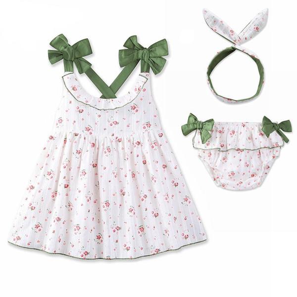 Ropa para bebé niña Vestido 3 piezas Vestido de flores blanco verano +  short + Diadema 5e8a9cc5ef4
