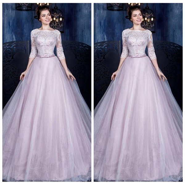 Half Sleeves Lace Appliques Wedding Dresses 2019 Modest Tulle Skirt Bridal Gowns Simple Long Vestidos De Marriage European Fashion