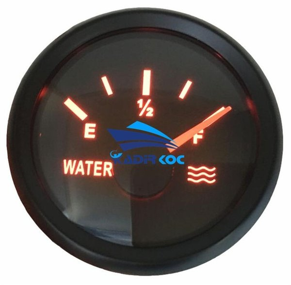 Pack of 1 0-100% Pointer Water Level Gauges 0-190ohm 52mm LCD Water Level Meters with Red Backlight for Auto Truck Boat