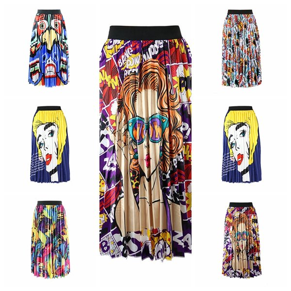 Spot 2019 moda primavera e no verão europeu impressão casual street holiday saia plissada saia, apoio lote misto