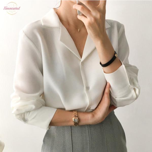 Donna Tshirt Abbigliamento Donna 2019 donne coreane Camicie Lavoro d'ufficio top a manica lunga Moda Loose Women camice casuali Piani di lavoro Bianco