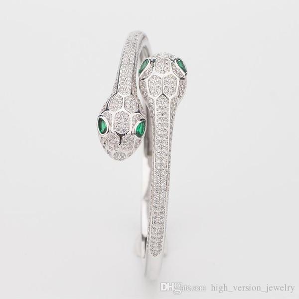 Women Snake Two Head Open Bracelets Designer Jewelry Luxury Natural Emerald Sterling Silver Woman Elasticity Animal Bangle Wedding Jewelry