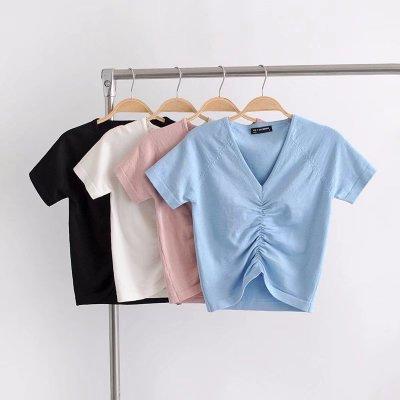 2019 Female Cotton V-neck drawstring T-Shirt Short Sleeve Neck Summer Casual Solid T-Shirt High Waist Slim T-shirts for women