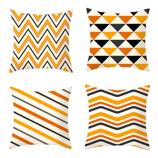 45 * 45 cm geometrische muster kissenbezug luxus wohnkultur orange streifen dekokissenbezug sofa kissenbezug halloween party dekoration