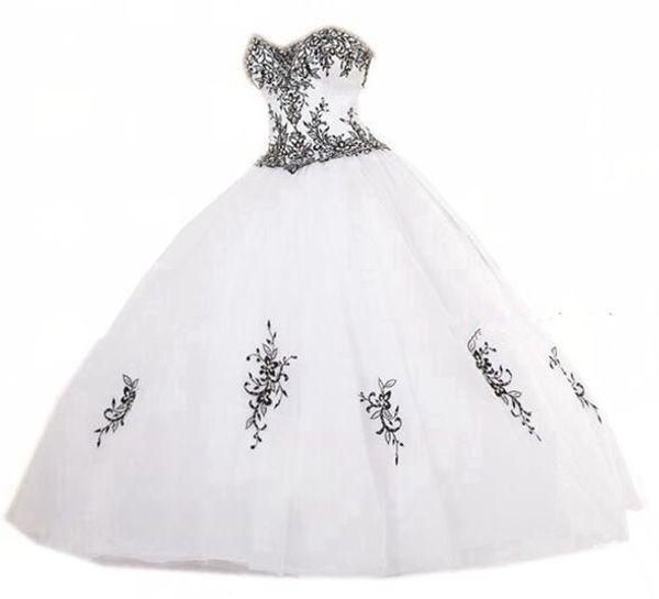 Compre 2019 Blanco Bordado Negro Vestidos De Quinceañera 15 Vestido De Fiesta Formal Hasta El Suelo Vestido De Fiesta Formal De La Celebridad Vestidos