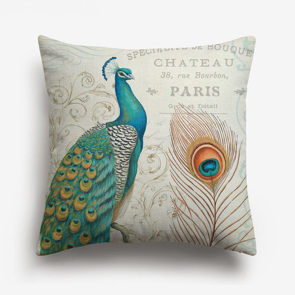 Hand Painting Elegant Bird Peacock Cushion Covers European Retro Vintage Home Decorative Cushion Cover Linen Cotton Pillow Case