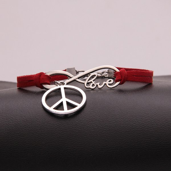 Red Leather Adjustable Jewelry For Women Men Silver Infinity Love Peace Sign Girl Boy Charm Bangles & Bracelets Femme Wedding Pulseras Mujer
