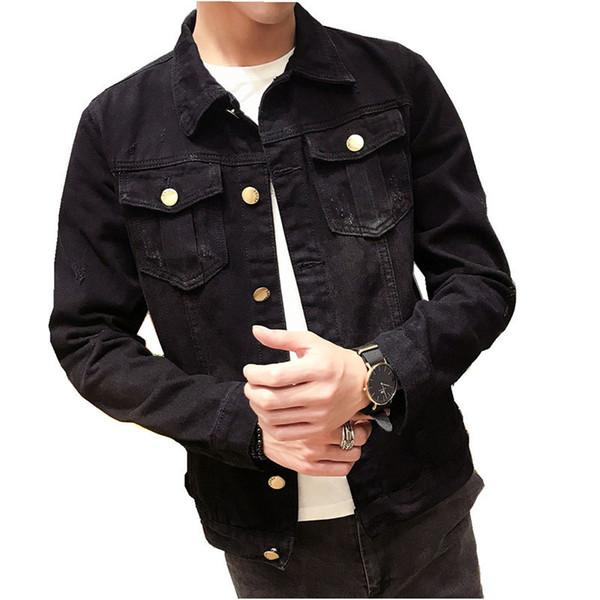 2019 Haute Qualité Noir Jeans Veste Manteau Hommes Denim Vestes De Mode Printemps Automne Hommes Simple Lavé Slim Fit Rétro Manteaux
