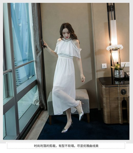 White Summer 2019 Women Wear Chiffon Lace Dresses Slim Beach Skirt Halter Short Sleeve Off-shoulder Long Skirt QC0202