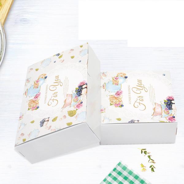 20pcs British Flower Cupcake Boxes Gift Packaging Wedding Party Maccaron Baking Package Vintage Floral Kraft Paper Cake Box T190711