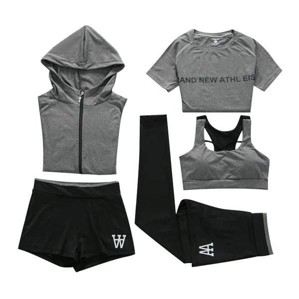 New Yoga Apparel, Slim Fitness Apparel, Quick-drying vest, Trousers, Outdoor Sports Suit, Women's Loose Five-piece Suit