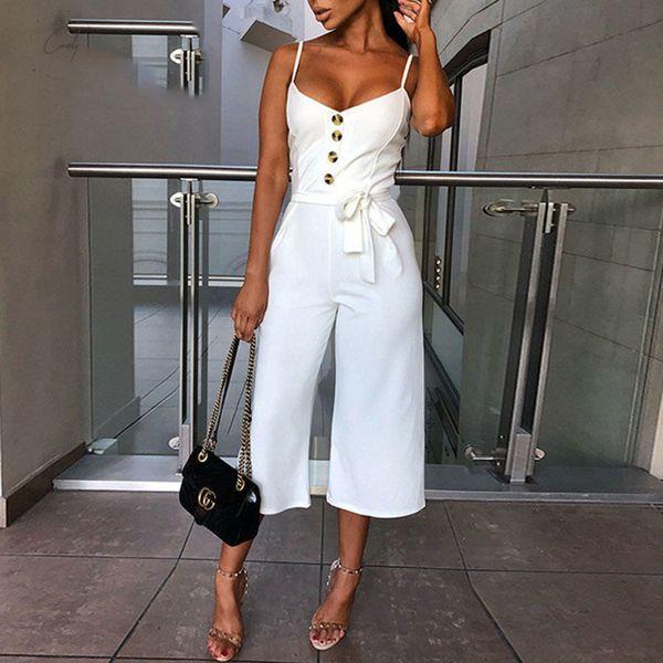Günlük Yaz Seksi Düğme Tulumlar Kadınlar tulum Şık Kemer Bandaj Düğmeler Geniş Bacak Pantolon Tulum tulumları Beyaz Artı boyutu