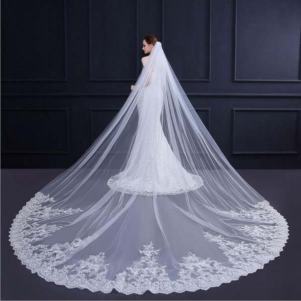 New Arrival Lace Wedding Veils White Ivory Tulle Wedding Veil Elegant Church Bridal Veils Wedding Accessories