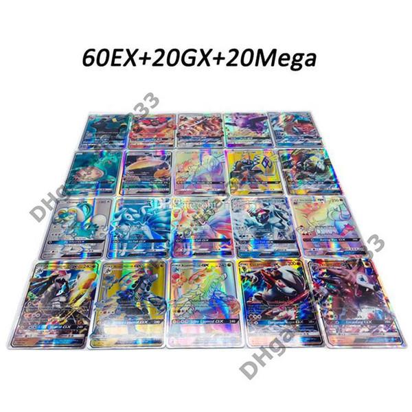 DHL ücretsiz Oynarken Ticaret Kartları Oyunları Pikachu EX GX Mega Shine İngilizce Kartları Anime Poket Canavarlar Kartları Yok tekrar 100 adet / grup