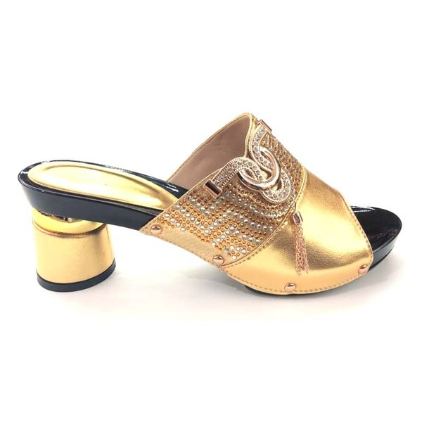 Hot Sale-Crystals decoration in Summer High Heel Shoes not Matching Bag Set African Woman Shoes without bag For Evening Party