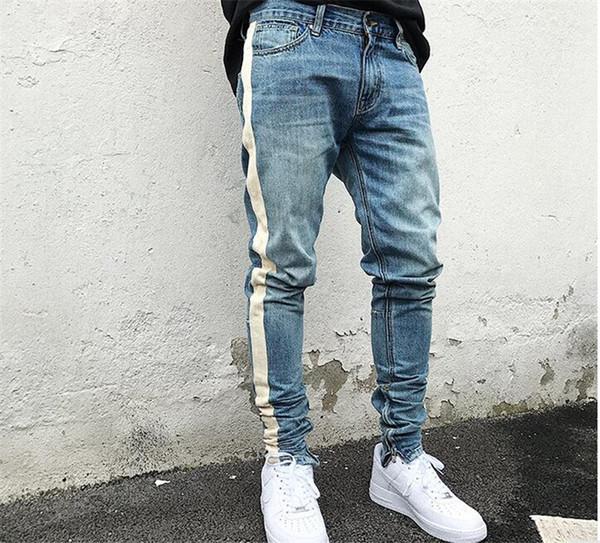 kanye west Skinny Jeans Herren Hip Hop Streifen Ripped Elastic Slim Fit Jeans Herren Biker Denim Jogger Design